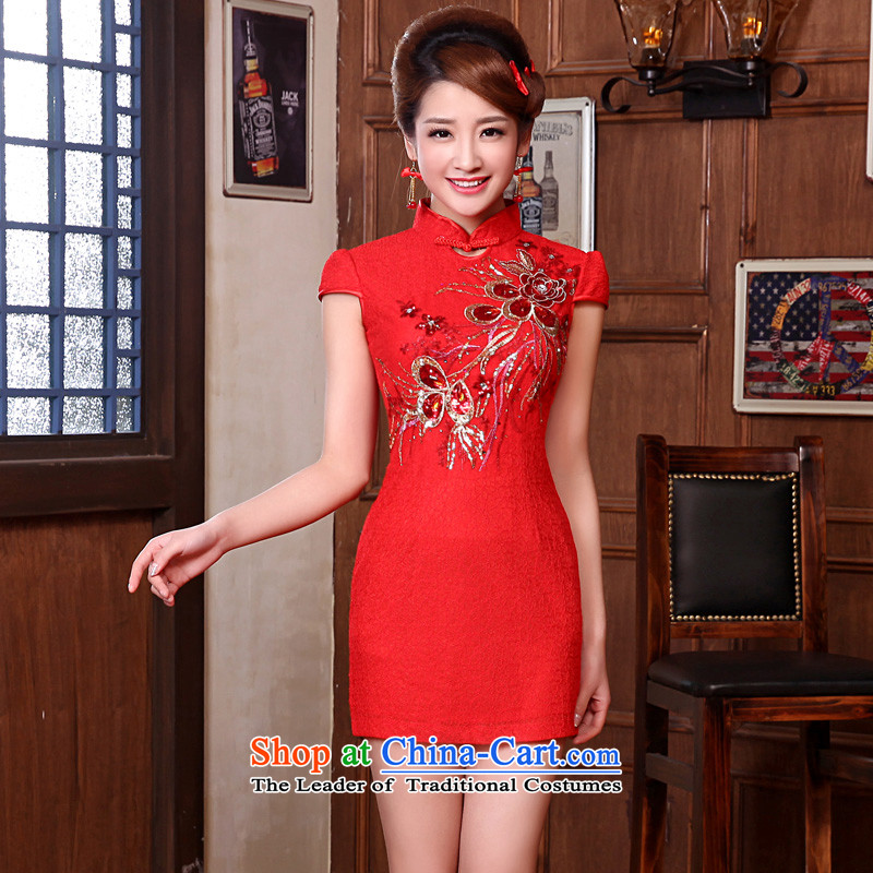 The privilege of serving-leung 2015 new marriages bows red retro traditional short of the Siamese lace cheongsam dress red燬