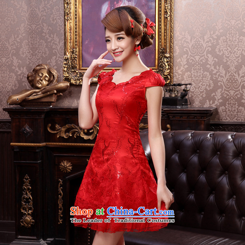 The privilege of serving-leung Summer 2015 new bride red Wedding Dress Short stylish lace qipao bows services red燬-38