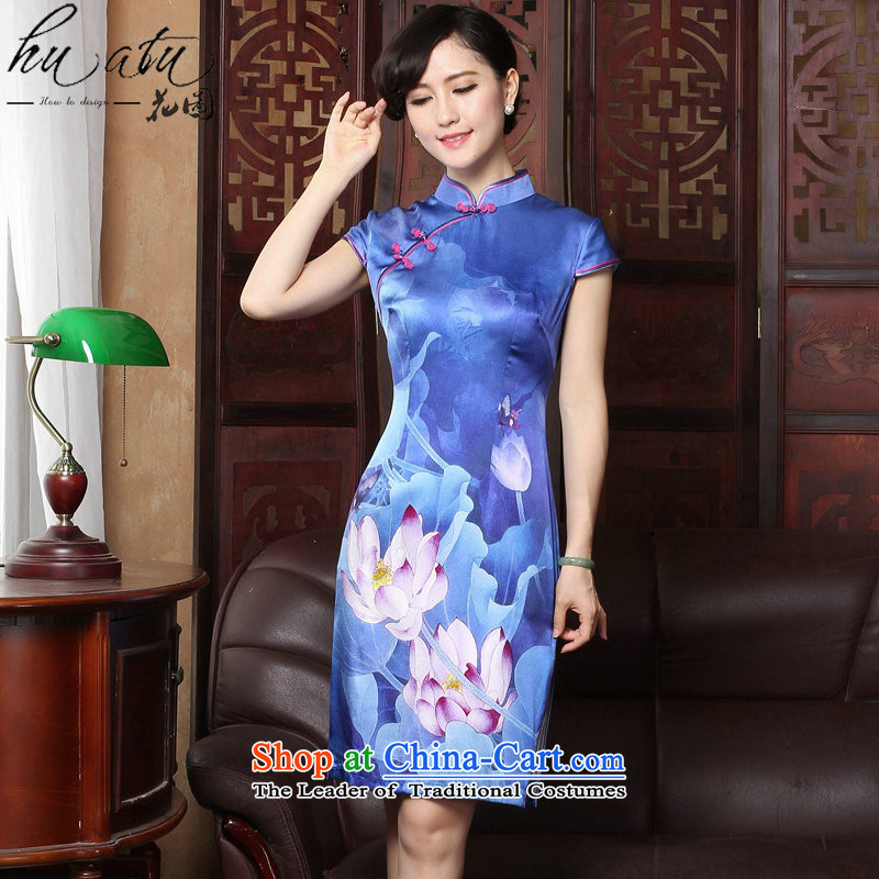 Figure聽2015 summer flowers cheongsam Tang new for women Silk Cheongsam cheongsam dress herbs extract banquet female figure color聽XL