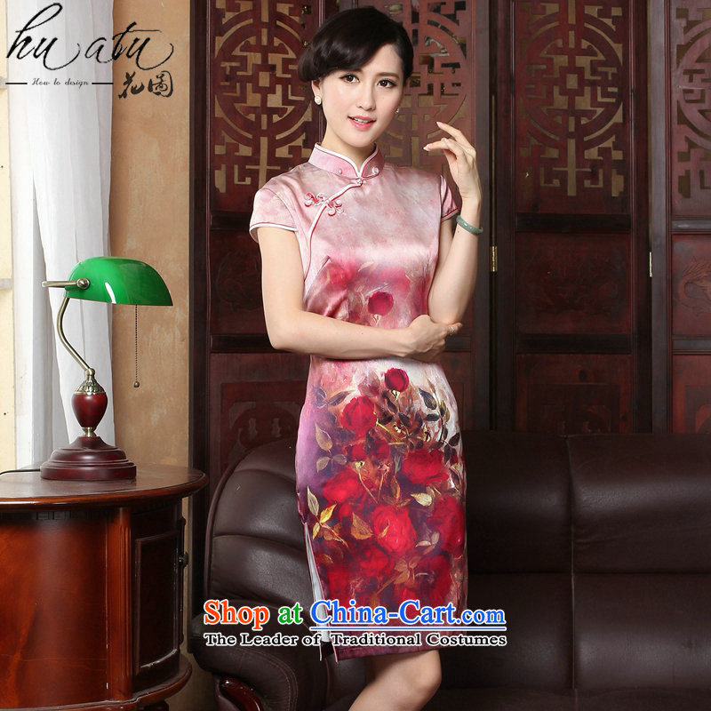 Take the?new 2015 figure rose herbs extract retro genuine heavyweight Silk Cheongsam short of summer female qipao figure color?L