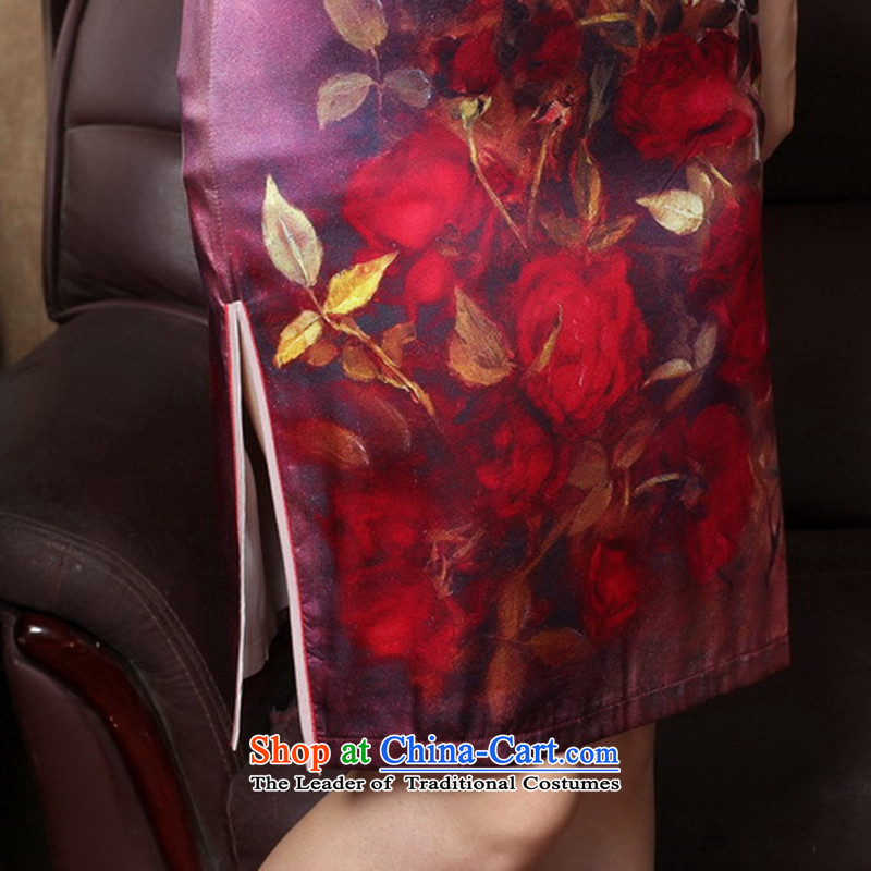 Take the聽new 2015 figure rose herbs extract retro genuine heavyweight Silk Cheongsam short summer female QIPAO) as shown in聽Figure , , , L, flower color shopping on the Internet