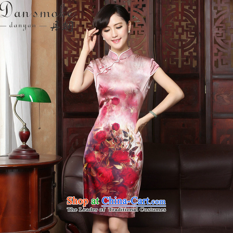 Dan smoke?rose by 2015 new herbs extract retro genuine heavyweight Silk Cheongsam short of summer female qipao figure color?M
