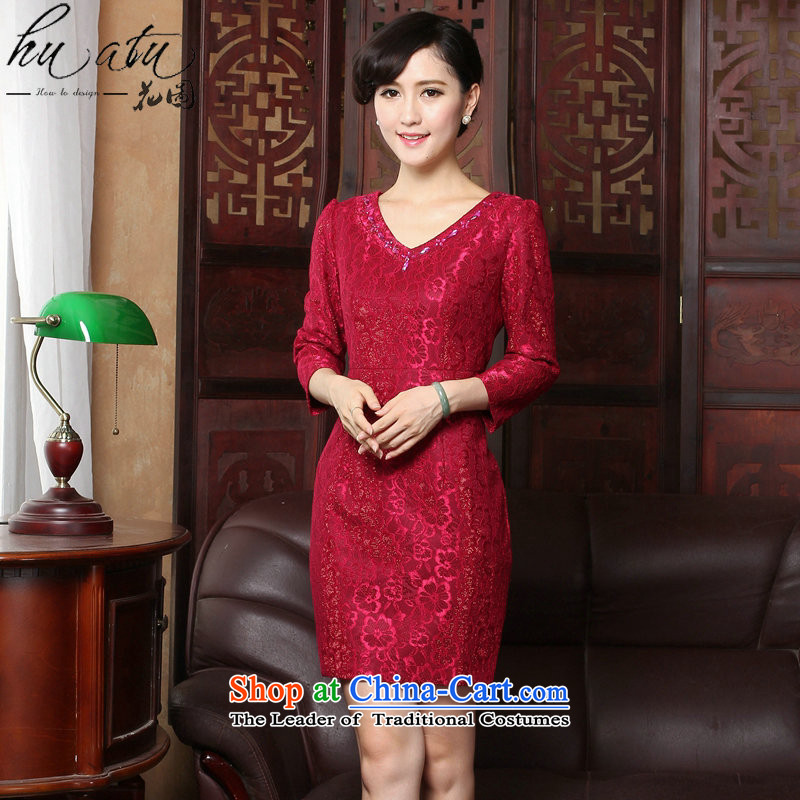 Floral燬pring 2015 qipao new V-Neck lace of 9 elegant qipao Sau San daily cuff dresses dress Figure Color燬