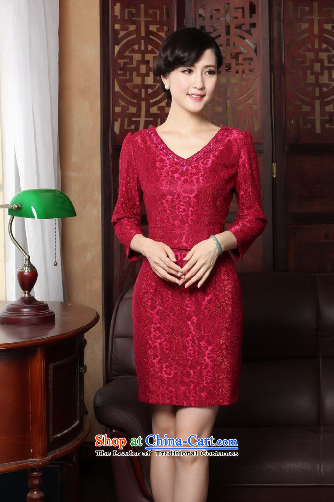 Dan smoke聽spring 2015 qipao new V-Neck lace of 9 elegant qipao Sau San daily cuff dresses dress figure color聽L picture, prices, brand platters! The elections are supplied in the national character of distribution, so action, buy now enjoy more preferential! As soon as possible.
