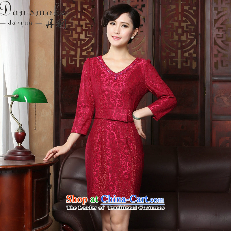 Dan smoke聽spring 2015 qipao new V-Neck lace of 9 elegant qipao Sau San daily cuff dresses dress figure color聽L