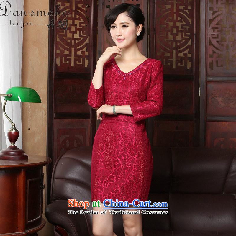 Dan smoke聽spring 2015 qipao new V-Neck lace of 9 elegant qipao Sau San daily cuff dresses dress figure color聽L, Dan Smoke , , , shopping on the Internet