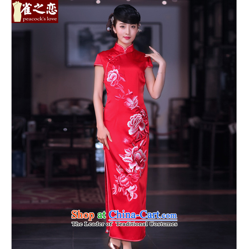 The advent of the love of birds tomorrow?2015 Spring New heavyweight silk embroidery retro long red qipao QD668 marriage red - 15 days pre-sale of?S