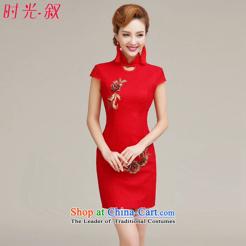 The 2015 autumn and winter new bride services cheongsam dress bows collar lace short skirt, stylish wedding dresses improved red flower cheongsam red?XXL
