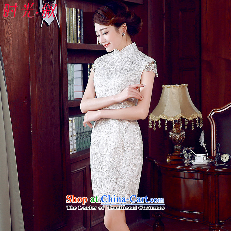 The Syrian Arab Republic? 2015 Autumn load time new improved Stylish retro short of qipao dresses exquisite lace daily Female dress White?XL