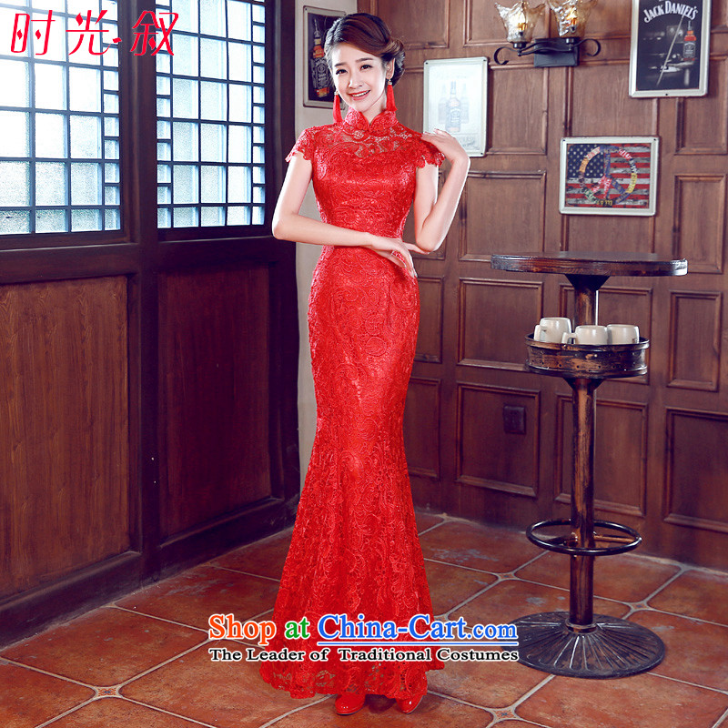 Syria cheongsam dress time new bride with a drink service improvement wedding dresses and Stylish retro short, red wedding dresses bride wedding dress bows services crowsfoot long S