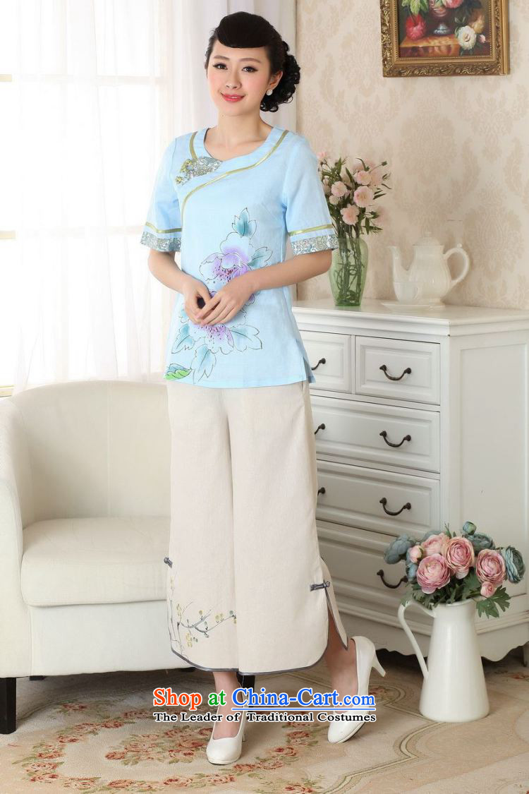 158 Jing in older children trousers press summer elastic waist cotton linen pants hand-painted Tang mother pants 9 trousers ethnic-legged pants P0012 widen -A black M picture, prices, brand platters! The elections are supplied in the national character of distribution, so action, buy now enjoy more preferential! As soon as possible.