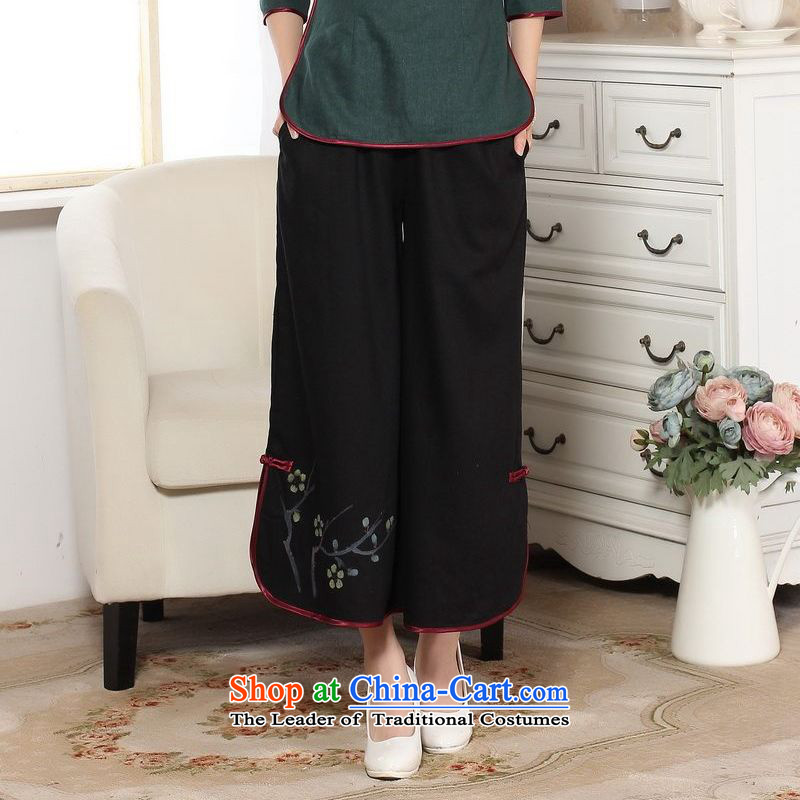 158 Jing in older children trousers press summer elastic waist cotton linen pants hand-painted Tang mother pants 9 trousers ethnic-legged pants聽P0012 widen -A black聽M