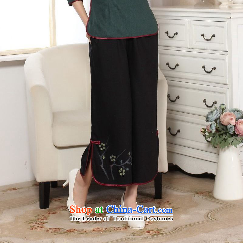 158 Jing in older children trousers press summer elastic waist cotton linen pants hand-painted Tang mother pants 9 trousers ethnic-legged pants P0012 widen -A black M 158 jing shopping on the Internet has been pressed.