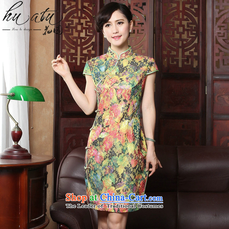 Figure for summer flowers new cheongsam dress Tang Dynasty Chinese cheongsam dress improved collar lace thin cheongsam dress graphics Sau San Figure?2XL color