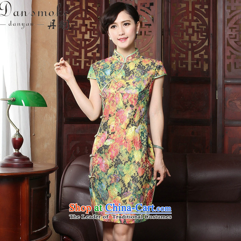 Dan smoke summer new cheongsam dress Tang Dynasty Chinese cheongsam dress improved collar lace thin cheongsam dress graphics Sau San Figure Color聽M