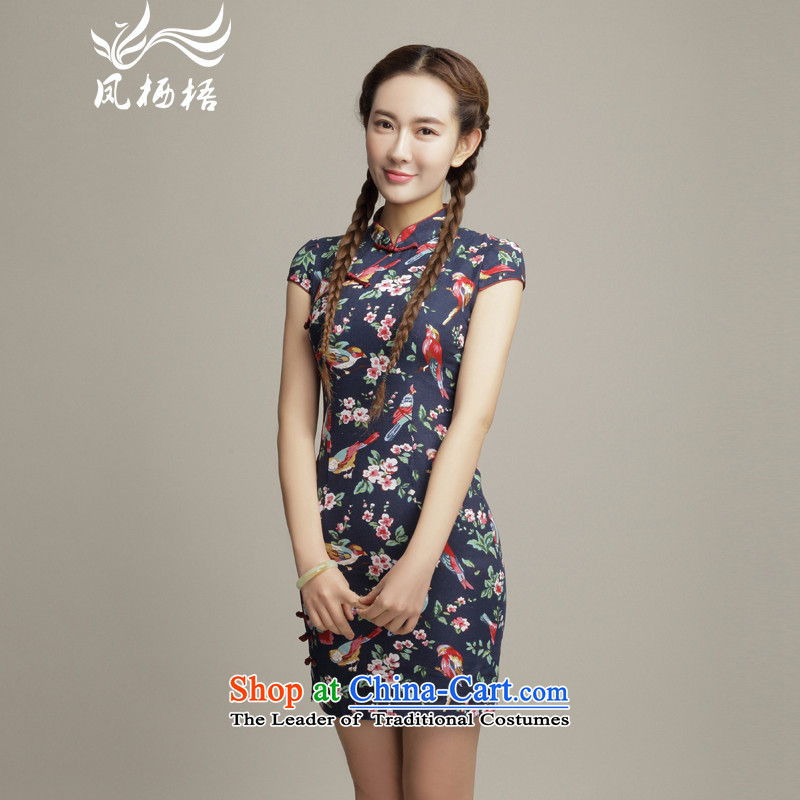 The following color 7475 migratory Bong-summer 2015 new retro cotton linen dresses and stylish skirt DQ1505 stamp Sau San qipao suit?S