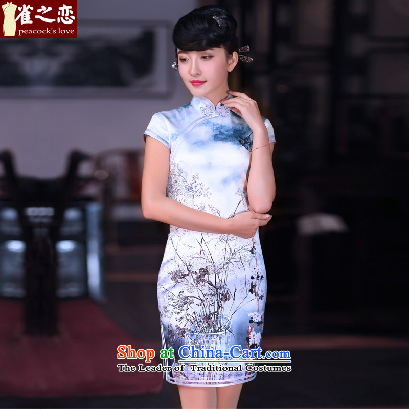Love of birds spend before Mao燬pring 2015 new improved cheongsam dress Silk Cheongsam short qipao QD662 dead wood raw flower燲XL