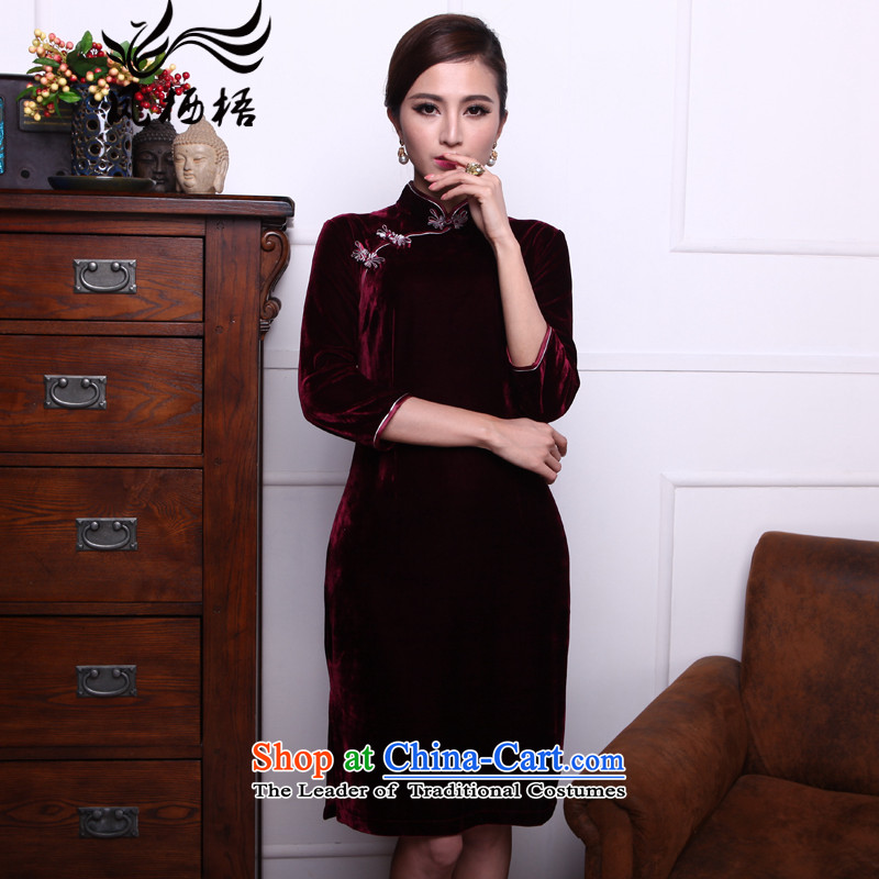 Bong-infected dust 2015 7475 migratory new retro scouring pads in the reusable cuffs collar qipao gown cheongsam dress DQ1516 temperament, wine red燲L