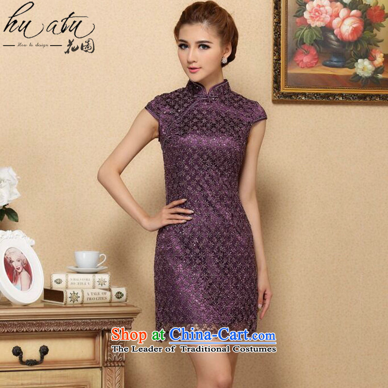 Figure qipao summer flowers new drill set manually CHINESE CHEONGSAM collar stylish improved water-soluble lace improved cheongsam dress purple?S