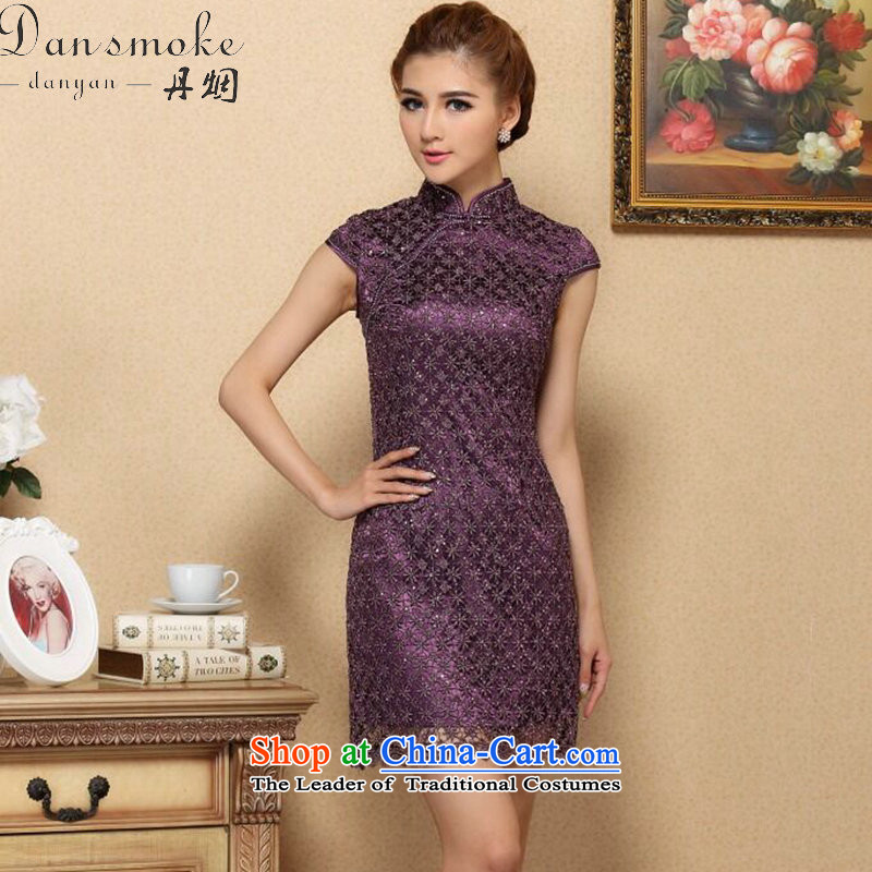 Dan smoke qipao summer new drill set manually CHINESE CHEONGSAM collar stylish improved water-soluble lace improved cheongsam dress purple�L