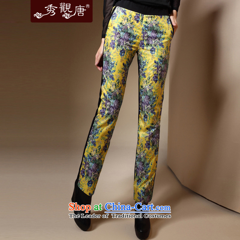 Sau Kwun Tong Tang Dynasty Jimmy Ms. multimedia stamp of ethnic Chinese Bonfrere looked as casual winter 2015 new long trousers K31057 warm yellow燤