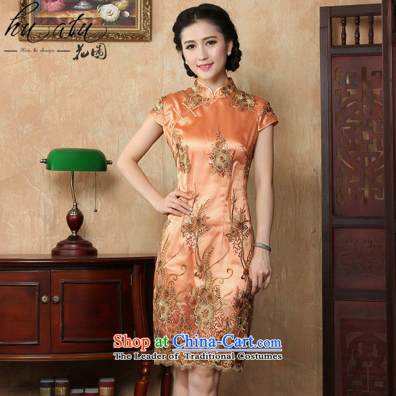 Figure for summer flowers cheongsam dress new Chinese improved collar lace short qipao stylish elegance Sau San cheongsam dress figure color M