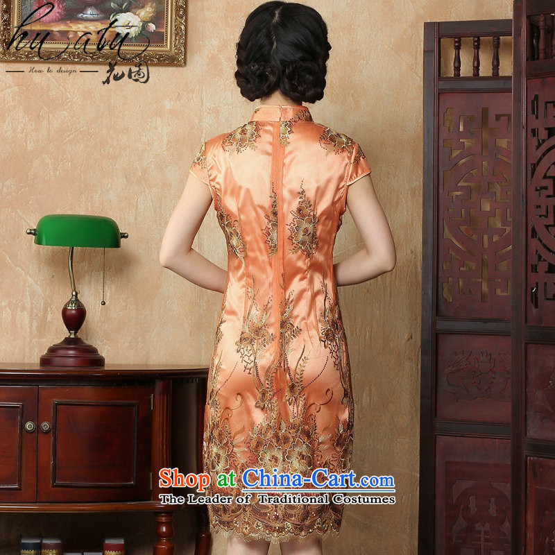 Figure for summer flowers cheongsam dress new Chinese improved collar lace short qipao stylish elegance Sau San cheongsam dress figure color M floral shopping on the Internet has been pressed.