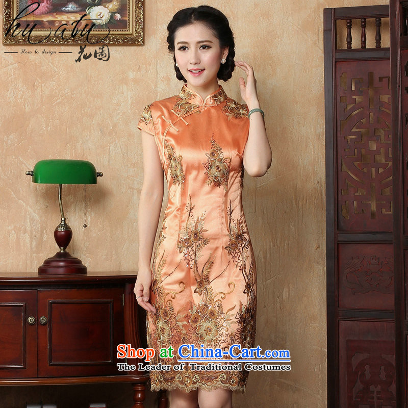 Figure for summer flowers cheongsam dress new Chinese improved collar lace short qipao stylish elegance Sau San cheongsam dress figure colorM floral shopping on the Internet has been pressed.