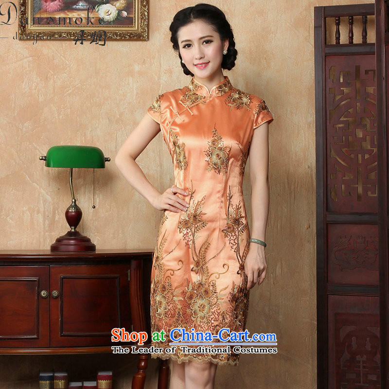 Dan smoke summer cheongsam dress new Chinese improved collar lace short qipao stylish elegance Sau San cheongsam dress Figure聽2XL color