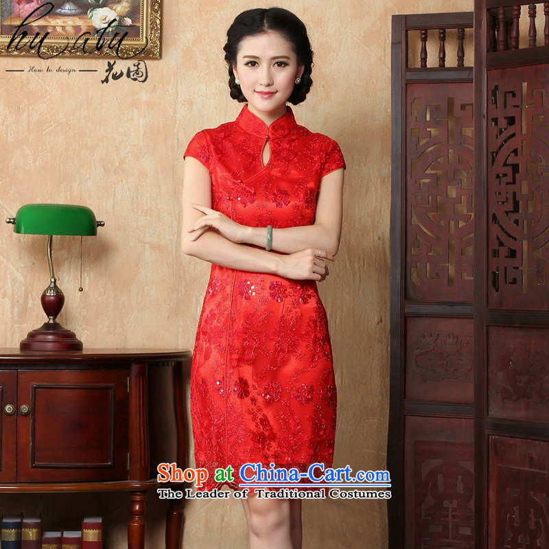 Floral red bride wedding dress qipao summer female Chinese antique flower embroidery short of qipao and improved noble red?XL