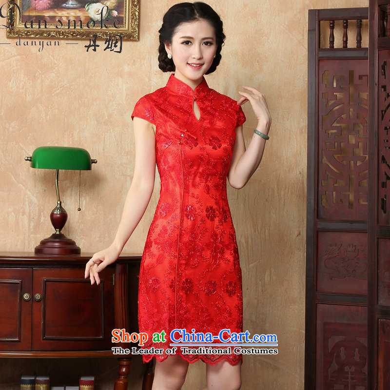 Dan smoke marriages bows dress qipao summer female Chinese antique flower embroidery short of qipao and improved noble RED聽M