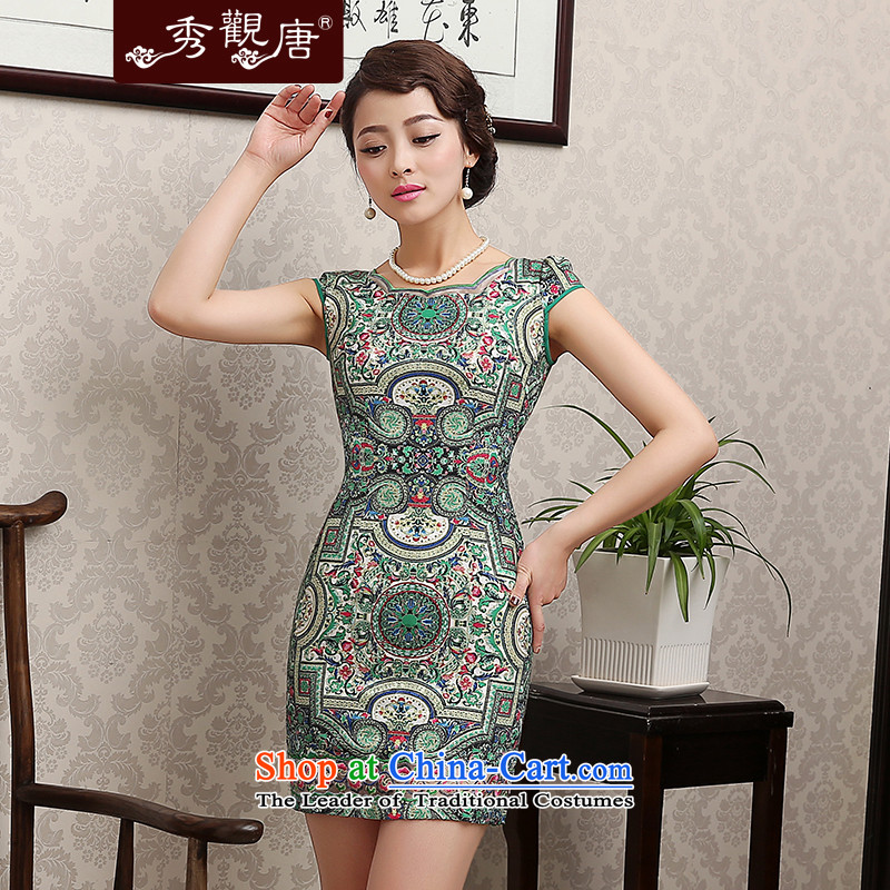 -Sau Kwun Tong- Chang Chun聽2015 when the new summer cheongsam dress temperament, temperament improvements Sau San short daily cheongsam dress QD1284 SUIT聽XXL
