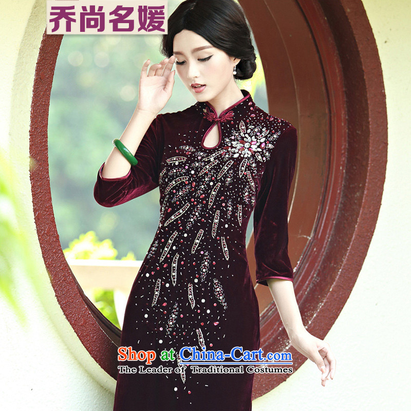 Upscale banqueting velvet gown cheongsam dress long wedding Mother of Pearl River Delta retro C818 stapled in English thoroughbred cuff?L (2 ft 3 Lumbar)