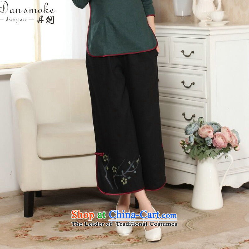 Dan smoke Tang dynasty ladies pants, Ms. Tang pants costume Han-wide-legged pants hand-painted ethnic women 9 black trousers?L