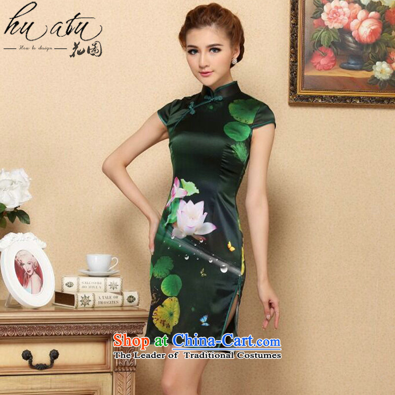 Figure for summer flowers cheongsam dress new Tang Dynasty Green Silk Cheongsam cool in the dos Santos I should be grateful if you would have silk cheongsam dress stylish picture color燬