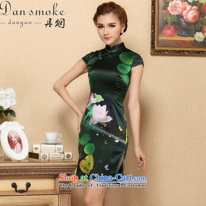 Dan smoke summer cheongsam dress new Tang Dynasty Green Silk Cheongsam cool in the dos Santos I should be grateful if you would have silk cheongsam dress stylish figure color聽L