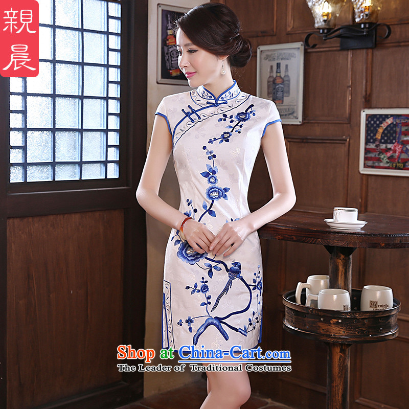 The new 2015 pro-morning daily short of Sau San retro improved graphics thin on the forklift truck stylish girl cheongsam dress white?S