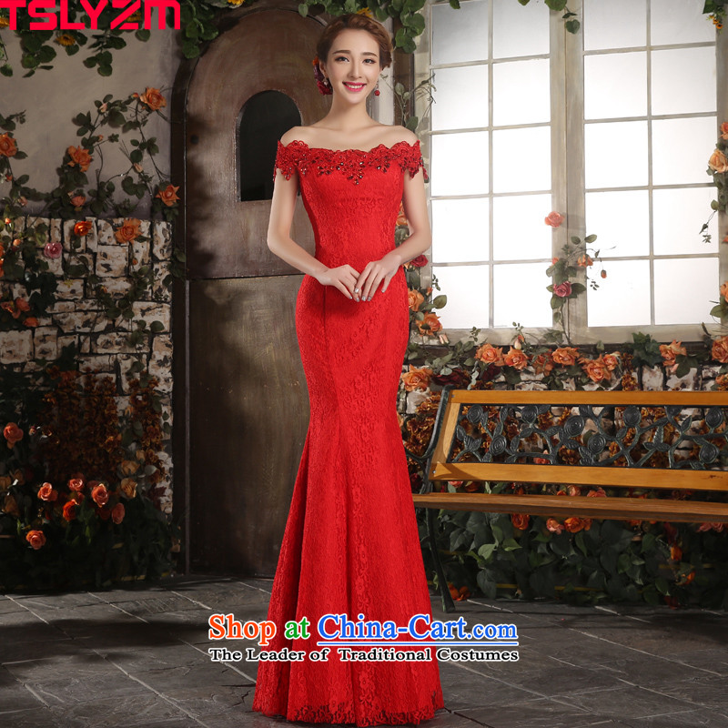 Toasting champagne bride services. crowsfoot tslyzm slotted shoulder wedding dresses skirt improved dulls long) 2015 Chinese wedding dress lace Ms. Sau San Red M