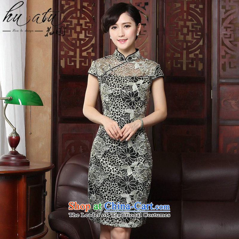 It sexy lace qipao summer retro female Chinese improved stylish collar embroidery cheongsam dress figure color?M
