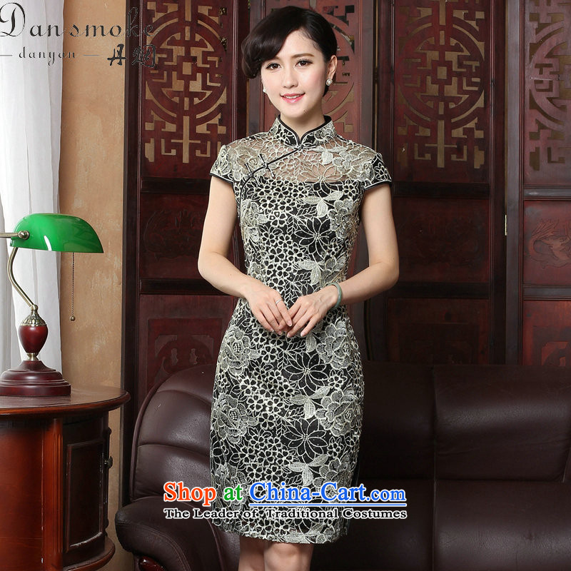 Dan smoke�2015 sexy lace qipao summer retro female Chinese improved stylish collar embroidery cheongsam dress Figure�2XL color