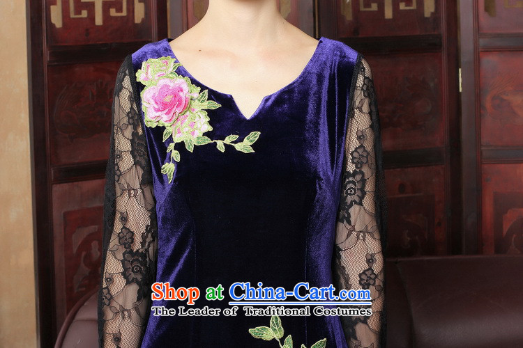 Dan smoke spring and summer new improved qipao stylish scouring pads qipao skirt V-neck of Chinese traditional embroidery lace qipao female figure color聽pictures, prices, XL brand platters! The elections are supplied in the national character of distribution, so action, buy now enjoy more preferential! As soon as possible.