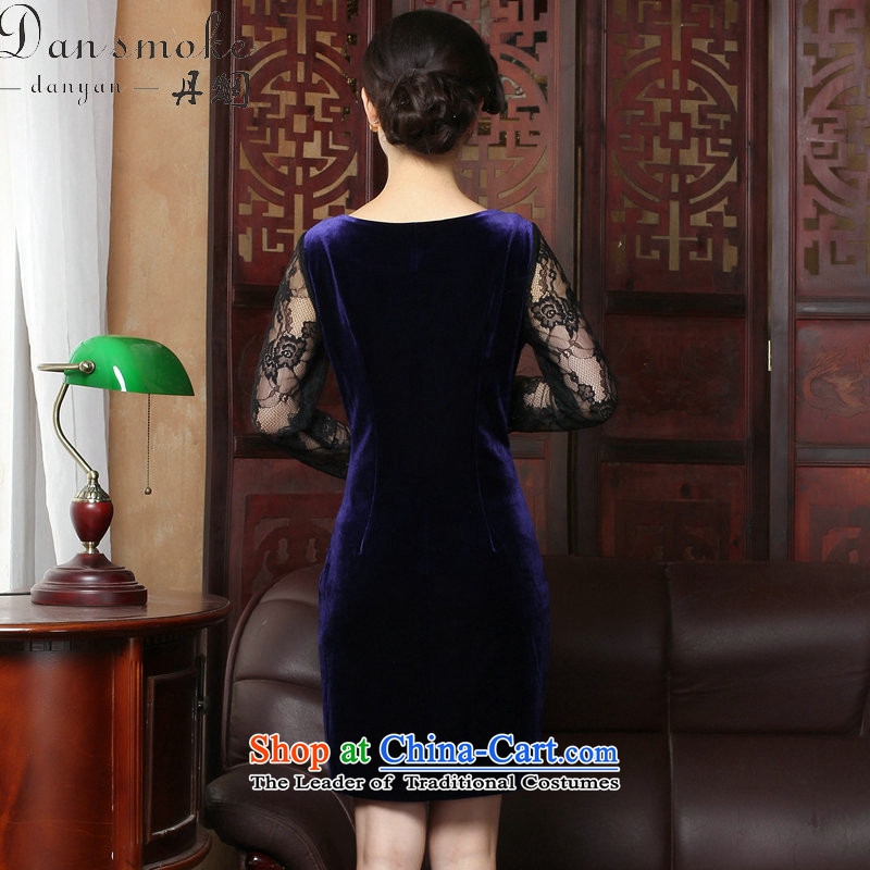 Dan smoke spring and summer new improved qipao stylish scouring pads qipao skirt V-neck of Chinese traditional embroidery lace qipao female figure color聽XL, Dan Smoke , , , shopping on the Internet