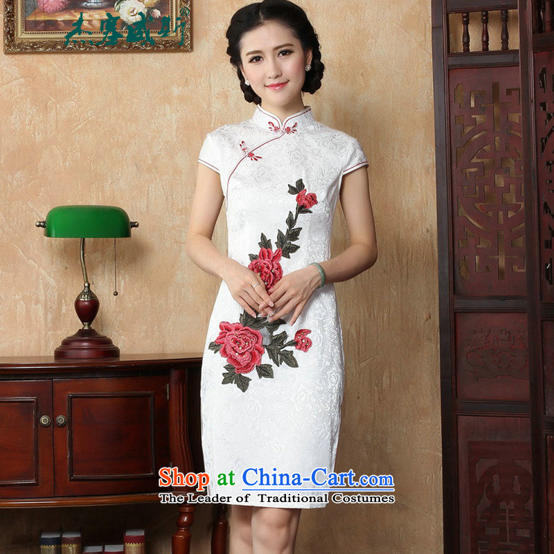 C.o.d. Jie in Wisconsin, Spring Summer lady elegant collar manually detained embroidered dress women Sau San qipao�Y�White�XL