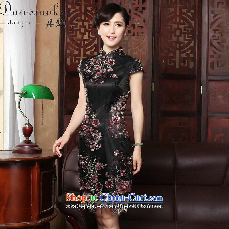 Dan smoke summer new cheongsam Tang Women's clothes silk cheongsam dress suit Chinese creases improved national wind lace qipao Figure聽2XL color