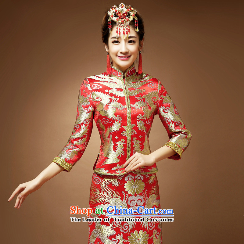 The privilege of serving-Leung Chiu-new marriage 2015 Sau Wo Service bridal dresses qipao bows serving Chinese dragon and the use of the red petticoat?2XL