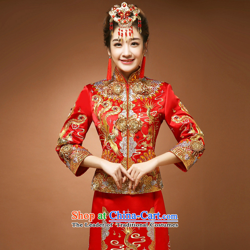 Use the dragon skirt-soo Wo Service Spring Chinese wedding dress toasting champagne Bridal Services marriage cheongsam red燬