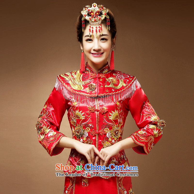 Use the dragon skirt-soo wo services Fall/Winter Collections marriages Chinese cheongsam dress uniform bows RED?M