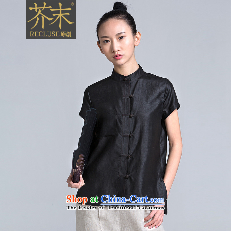 ? mustard original health reflects/New Chinese Van Gogh China wind designers of Tang Dynasty herbs extract spring and summer short-sleeved black women's�L
