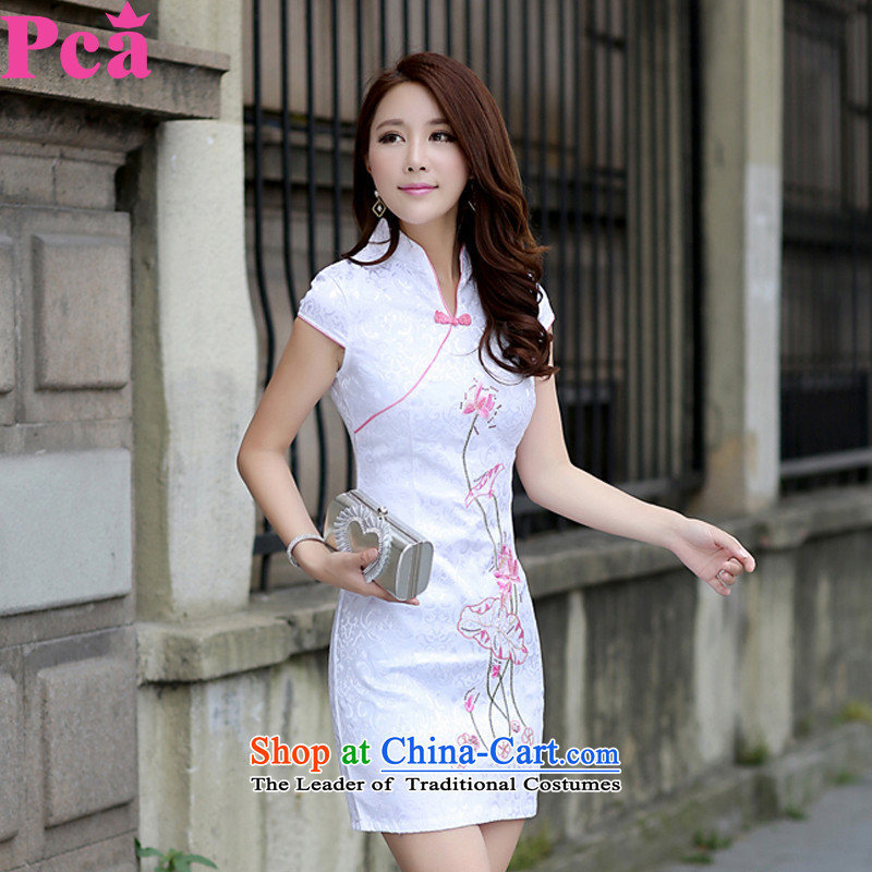 Pca qipao summer Tang dynasty new short-sleeved qipao improved V-Neck stylish 521103 Sau San pink L