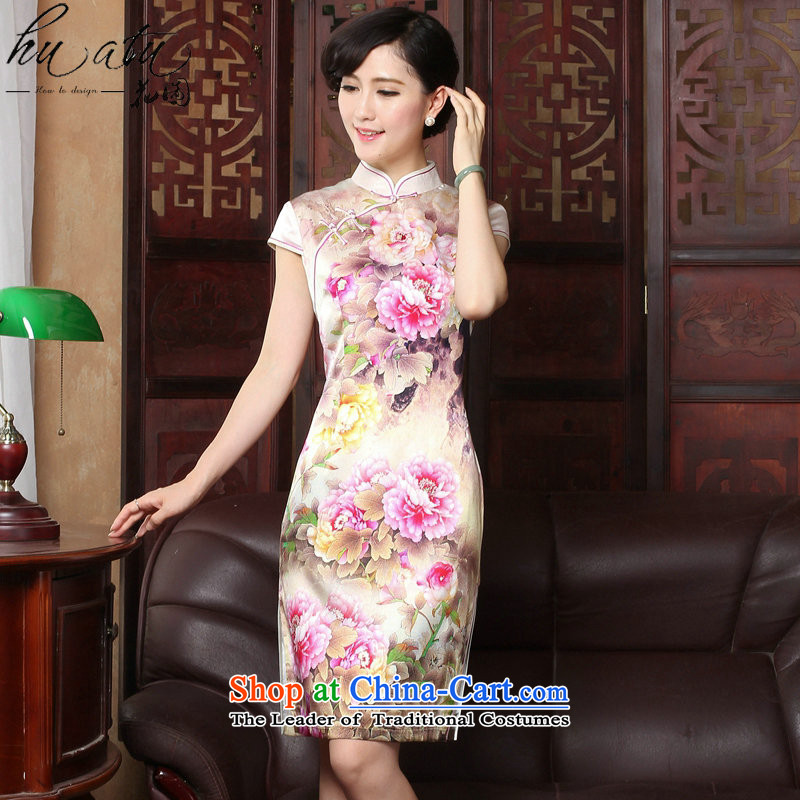 Figure for summer flowers new Tang dynasty cheongsam dress herbs extract retro Silk Cheongsam country color Tianxiang short-sleeved gown figure color qipao聽L